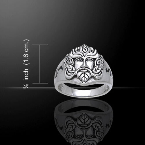 Green Man .925 Sterling Silver Ring by Peter Stone