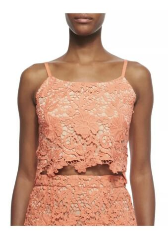 ALICE+OLIVIA Alanis women's lace crop top coral si