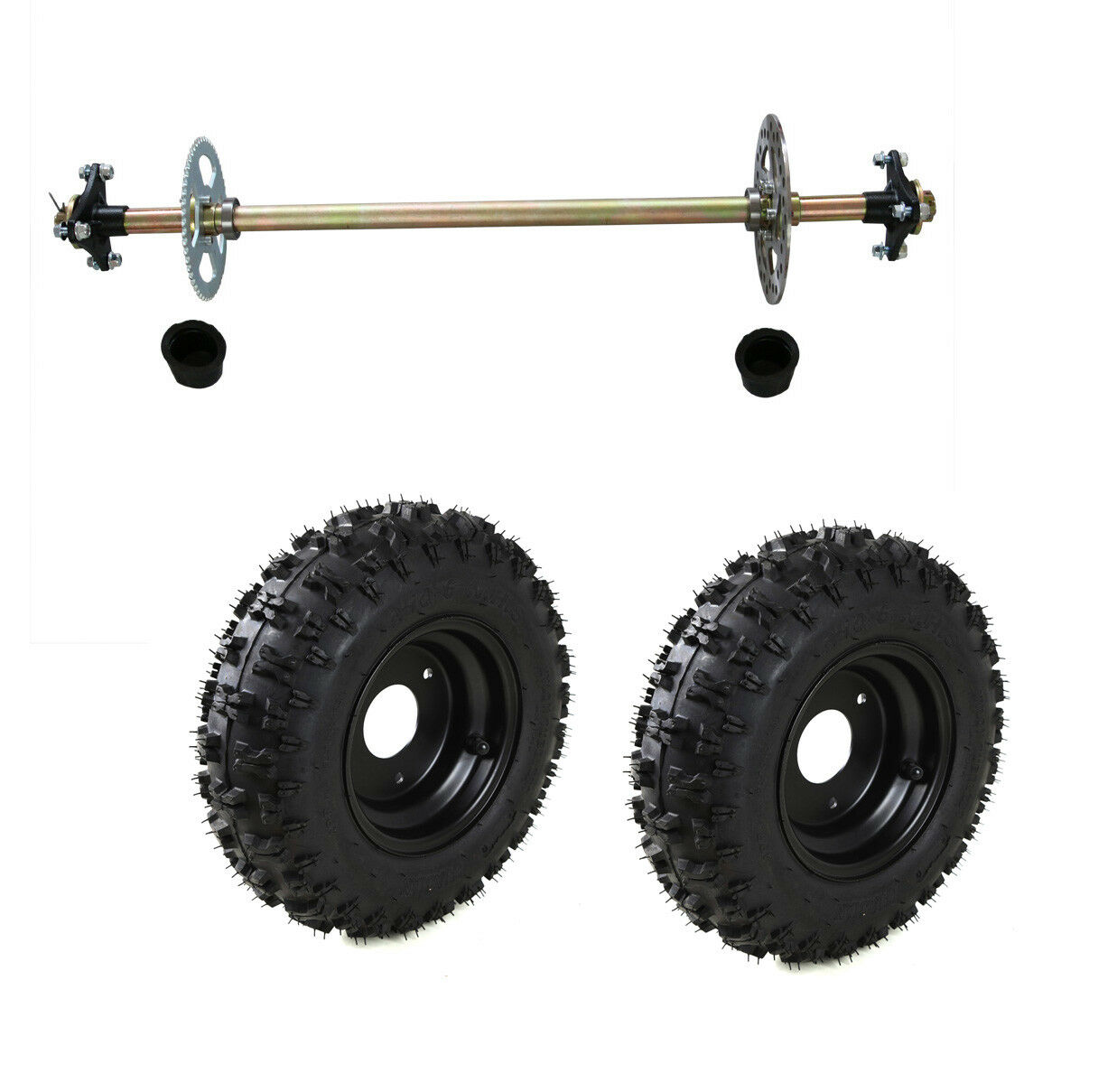 Kids Go Kart Rear Axle Kit Complete Wheel Hub  + Pair 4.10-6 Tires Set Off road  top brands sell cheap