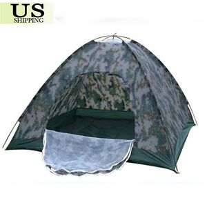 """Family Outdoor Camping Tent Waterproof 3-4 Person Camo Portable Folding 79""""x79"""""""