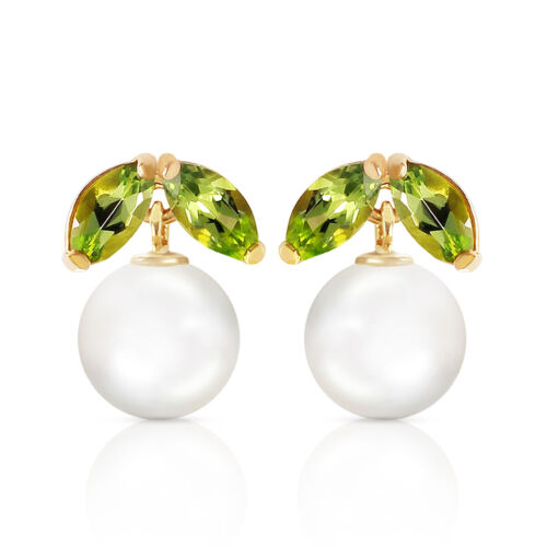 4.4 CTW 14K Solid Gold Stud Earrings pearl Peridot