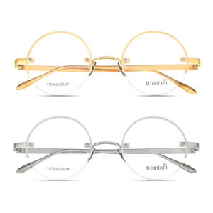 c4c20e4487 Image is loading 49mm-Luxury-100-Pure-Titanium-Vintage-Round-Eyeglasses-
