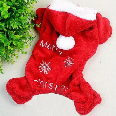 Merry Christmas Warm Soft Fleece Pet Dog Clothes Hoodie Jumpsuit Coat Apparel