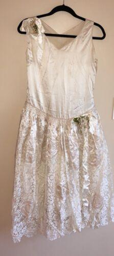 Atq 1920's Robe De Style Ivory Lace Pannier Wax Fl