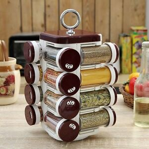 JVS DESIGNER REVOLVING MASALA / SPICE RACK 16 IN 1 KITCHEN USE (BURGANDY COLOR)