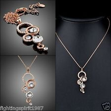 Lux Rose Gold Halskette Swarovski Element Kristall Anhänger Original Design /007