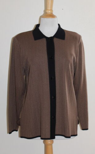 Sz et élégant chevrons Exclusif blazer Petite brun à L noir Misook Pl Y8xHY7qT