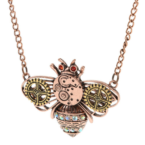 New Retro Steampunk Gear Bee Pendant Chain Necklace Gothic Statement Jewelry