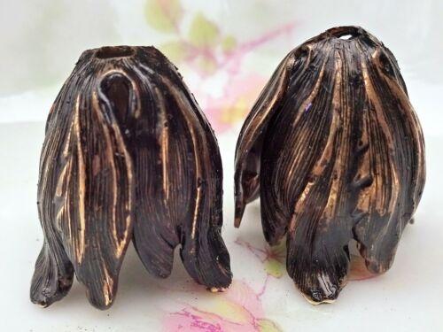 Patina Bead Caps Vintaj Leaf Petal Artsy Blossom Large 22mm Antiqued Boho #1577N
