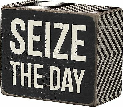 """Primitives by Kathy SEIZE THE DAY Small Wooden Box Sign 2.5/"""" x 3/"""""""
