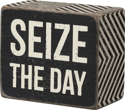"""SEIZE THE DAY Small Wooden Box Sign 2.5/"""" x 3/"""" Primitives by Kathy"""