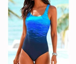 Women-039-s-Gradient-One-Piece-Swimsuit-Criss-Cross-Back-Sizes-M-L-and-XL-New