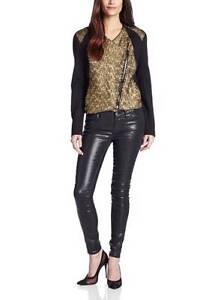 55eb52bf4ff Karen Kane Fast Lane Moto Jacket Women's sz Medium Fancy Foil Gold ...