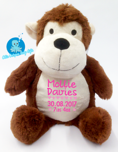 Personalised baby teddy bear giftembroidered monkey christening image is loading personalised baby teddy bear gift embroidered monkey christening negle Gallery