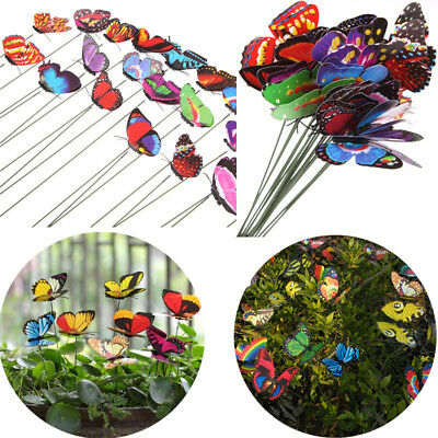 10Pcs Butterfly Yard Metal Decors Garden Outdoor Home Lawn Patio Art Orname U2Z5