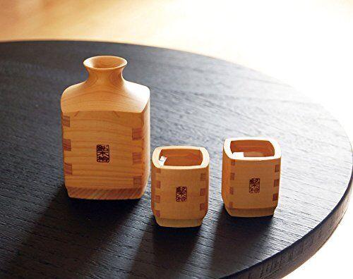 Saké Japonais Tasse & TOKKURI Set de 4 en bois de Cyprès hinoki Made in Japan NEW