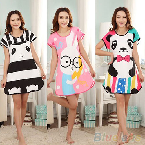 WOMENS COTTON CUTE CARTOON SLEEPWEAR PAJAMAS SHORT SLEEVE SLEEPSHIRT NIGHTGOWN