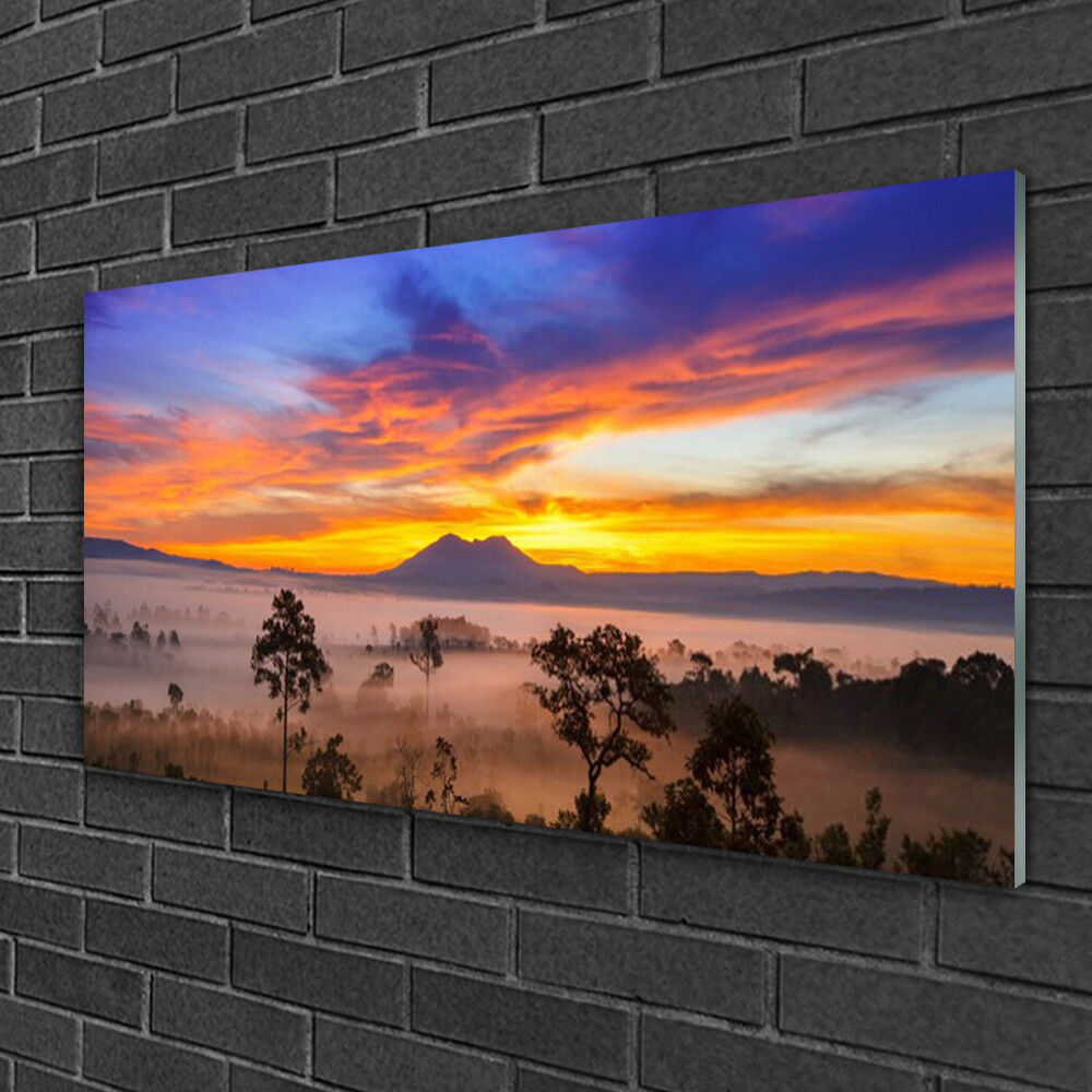 Glass print Wall art 100x50 Image Picture Trees Fog Landscape