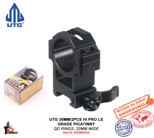 22mm Wide RQ2W3224 UTG 30mm//2PCs Hi Pro LE Grade Picatinny QD Scope Rings