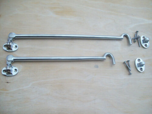 SOLID SATIN CHROME CABIN HOOKS AND EYE DOOR LATCH