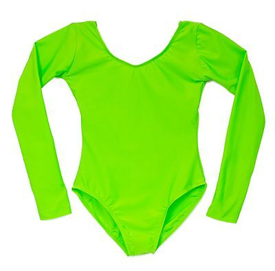 New w/ Flaw Adult Scoop Neck Long Sleeve Leotard Bright Lime Green Size S