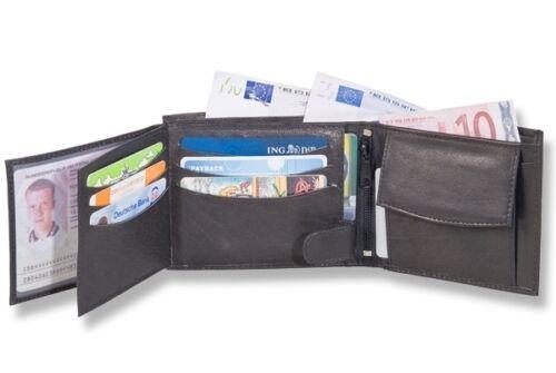 Geldbörse Portemonnaie Geldbeutel schwarz echt Leder