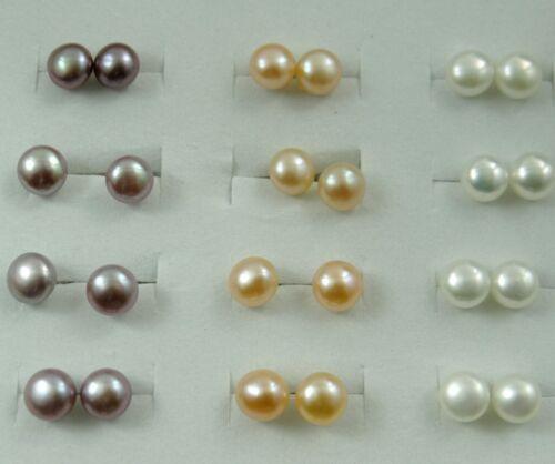 Beautiful 7-8mm Freshwater Pearl Beads Dangle Silver Stud Earrings  PA/_6