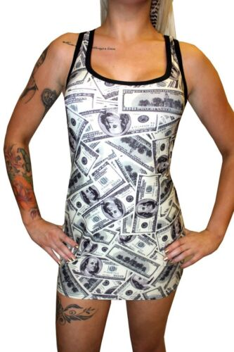 Women/'s Unique Dollars Notes Money Print Long Tank Top Rock N Roll Size 8-22