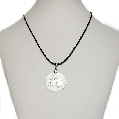 Happy Lucky Chinese Zodiac Sheep Goat Natural Sea Shell Amulet Pendant