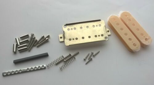 Humbucker pickup kit 50//52mm black//ivory//zebra bobbins nickel silver baseplate