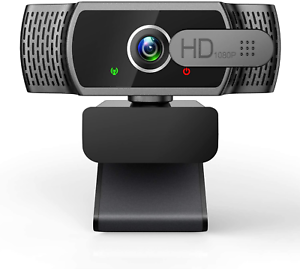 Webcam for PC with Microphone - 1080P FHD Webcam with Privacy Cover, Plug and &