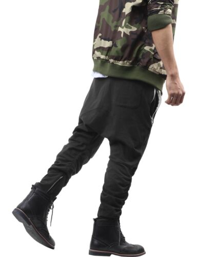 Mens JOGGER DROP CROTCH Hip Hop Pants Zippered Stretch Elastic Lightweight