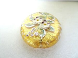 Murano-Lampwork-Glass-Beads-Gold-Foil-With-Raised-Flower-Design