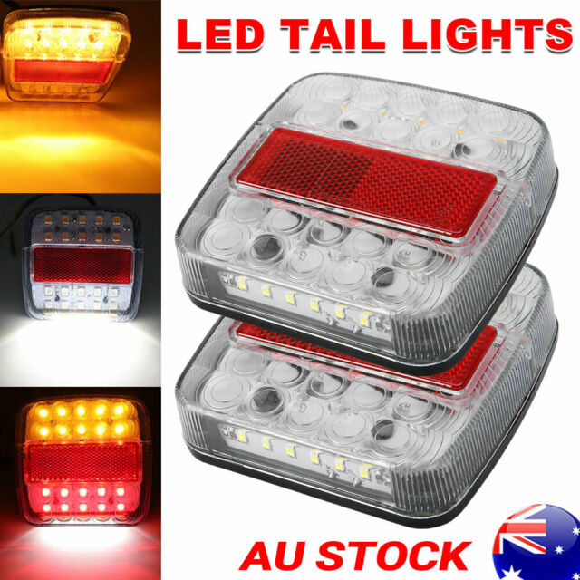 Pair 12V LED Tail Lights Trailer Truck Boat Stop Rear Indicator Number Taillight