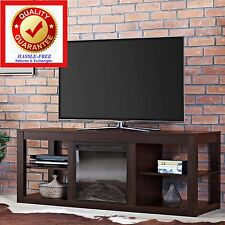 TV Stand Media Entertainment Center Console & Electric Fireplace Heater ESPRESSO