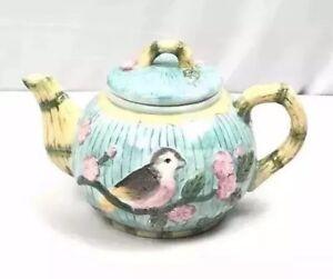 Ceramic-Teapot-Hummingbird-amp-Floral-Design