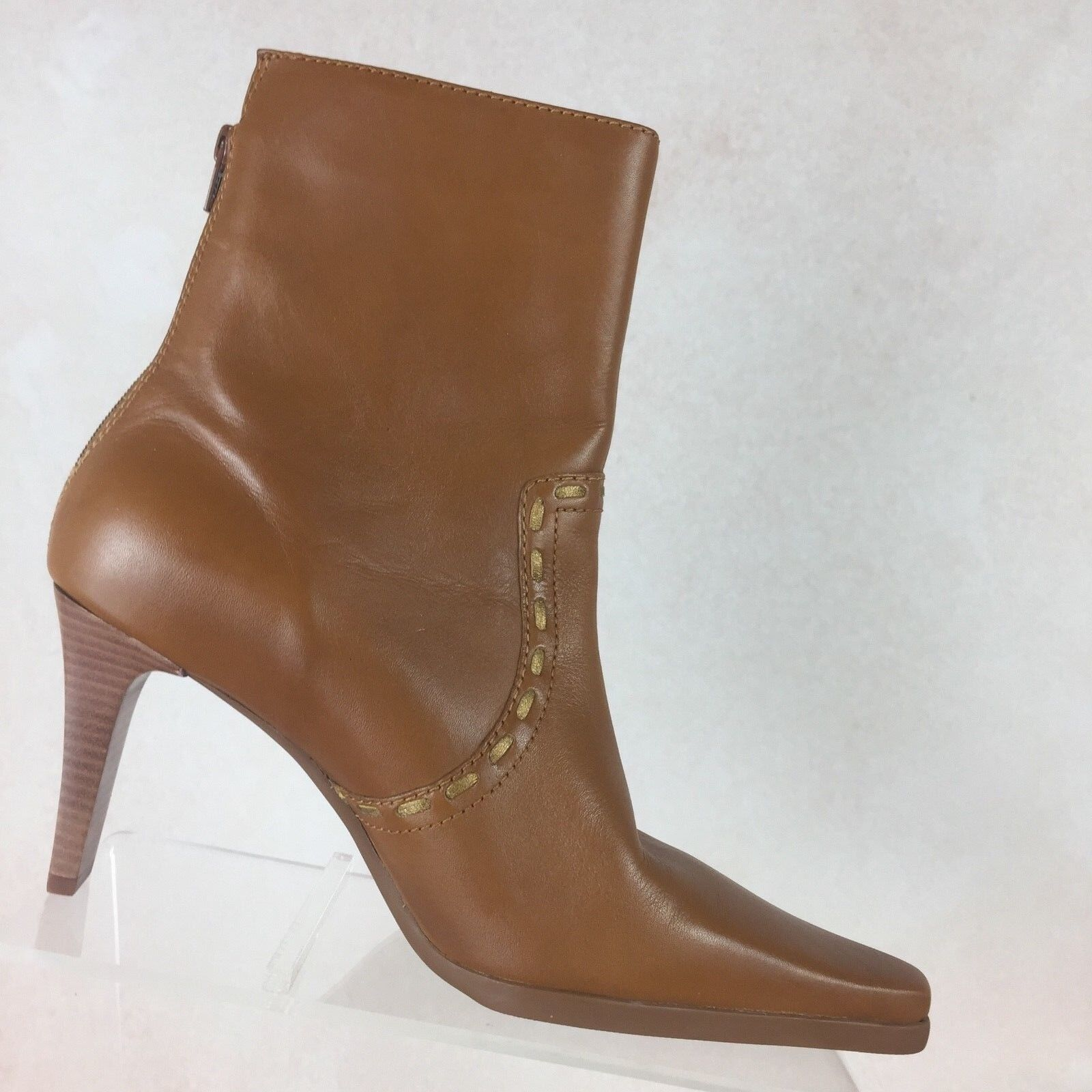 UNISA KEITH B69 Brown Leather Ankle Boots Zipper Heels Pointy Toes shoes Sz 8.5B