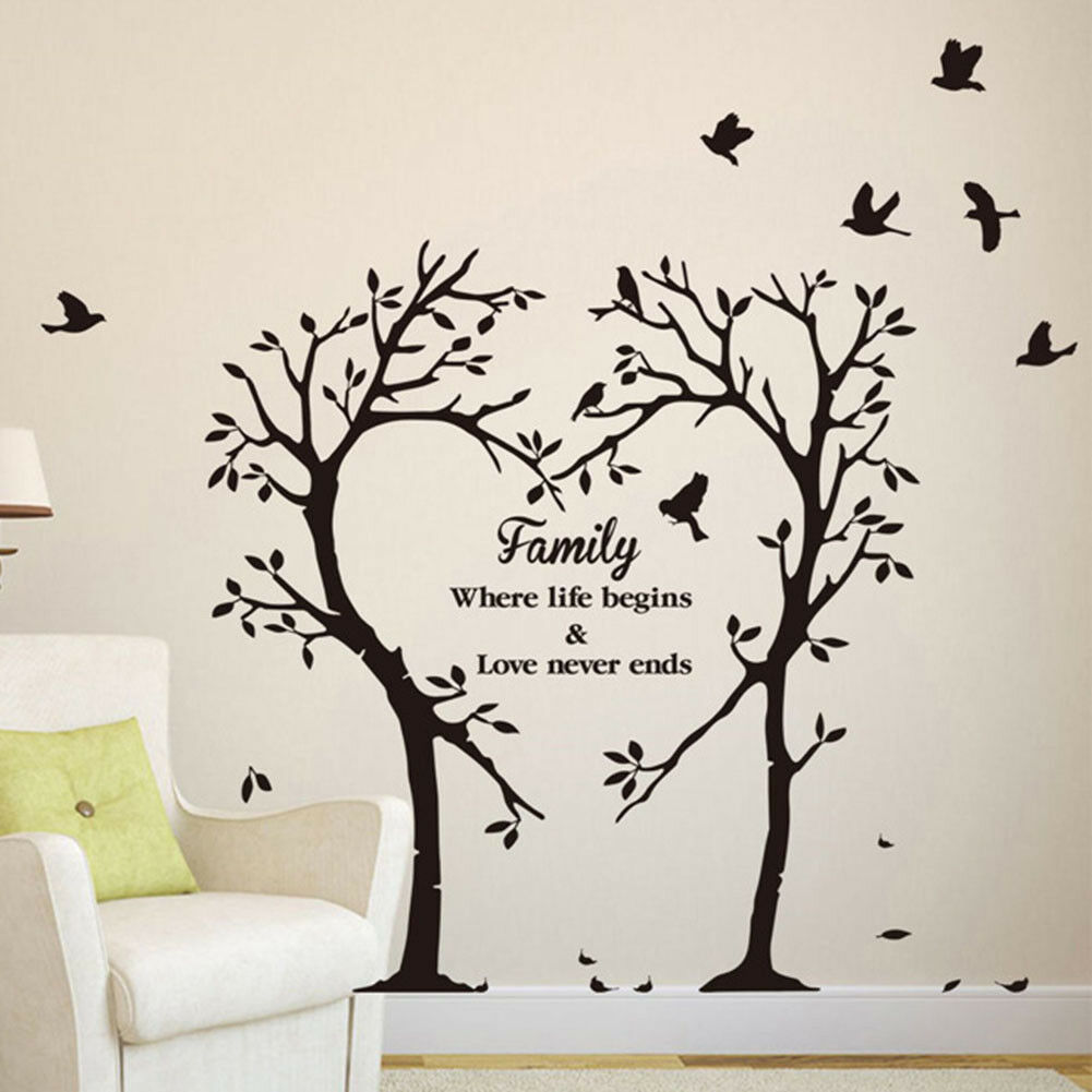 Family Love Tree Quote Wall Stickers Living Room Removable ...