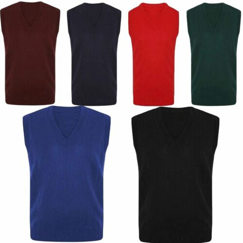 Childrens Sleeveless V Neck Sweater Mens Plain School Uniform Winter Wear Jumper