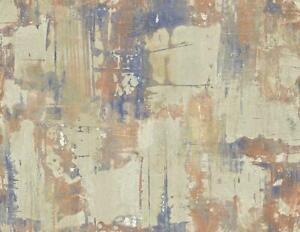 Wallpaper Blue Copper Cream Abstract Crackle Faux SMOOTH
