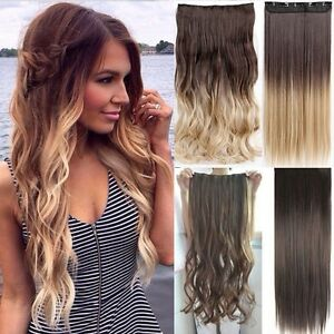 ombre ein tresse clip in hair extensions haarverl ngerung braun blond romantic ebay. Black Bedroom Furniture Sets. Home Design Ideas