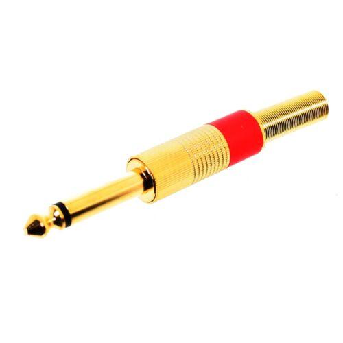 Enchufes-enchufe 6,3mm mono dorado con protección antitorsión farbkennring rojo