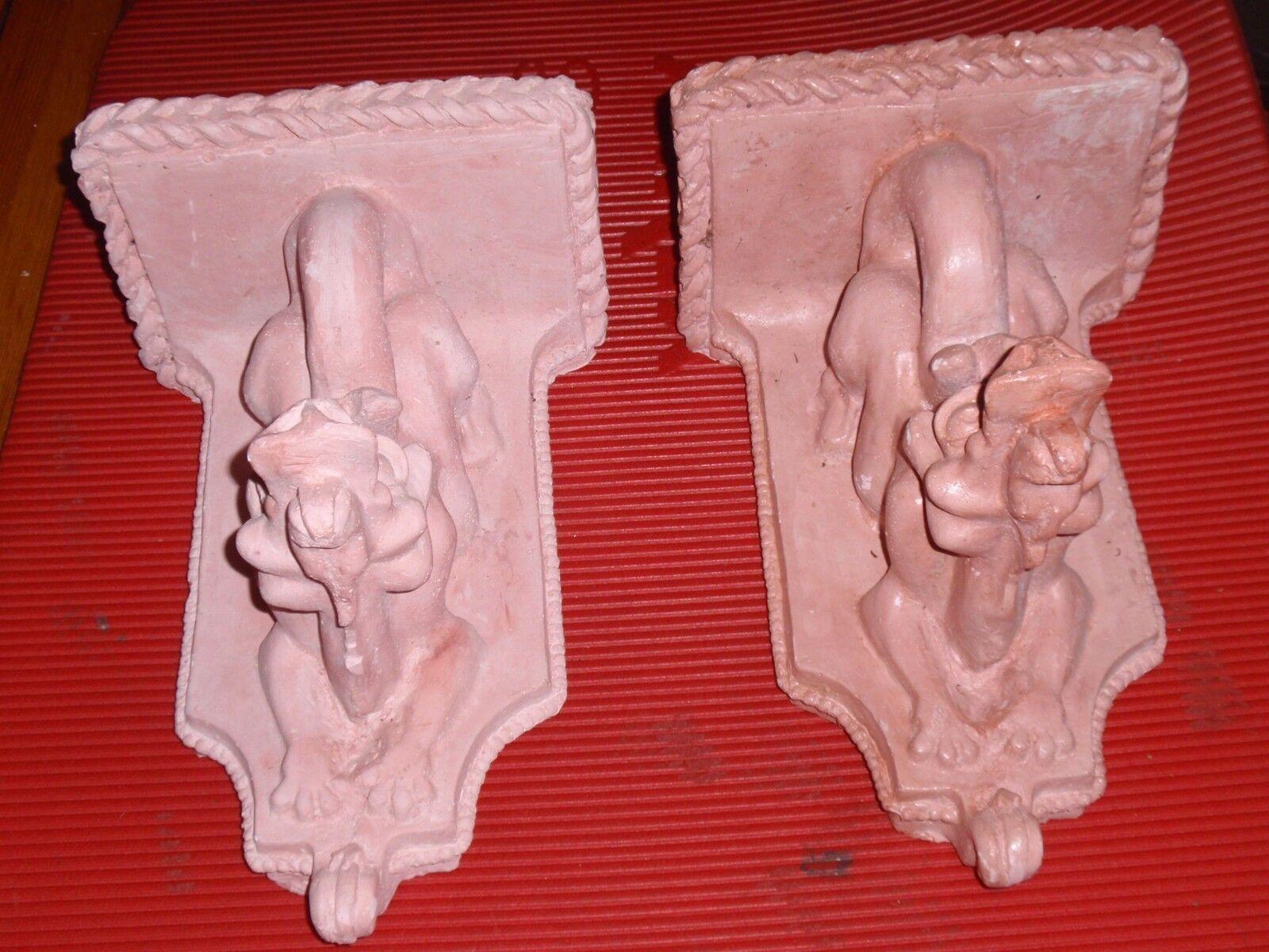 2 Estantes De Parosso Gárgola Colgante Hecho a Mano Dragones De Yeso 11.5 X 8 pulgadas