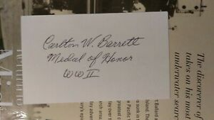S/Sgt. CARLTON W. BARRETT, WWII Medal of Honor Omaha Beach Signed 3x5 SCARCE!!