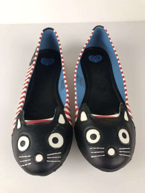 TUK Cat Kitty Black Red Checker Flat Loafer Shoes Slip On Punk Women's 11 US