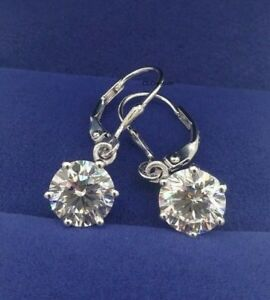 bec44fc67679d Details about 2.0 CT White Moissanite 925 Sterling Silver Solitaire  Dangling Earrings
