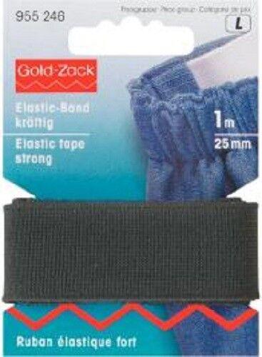 Elastic-Band kräftig 25mm schwarz 1m  Karte Prym 955246