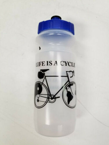 Life Is a Cycle Water Bottle Yin Yang Bicycle Design Hydration Blue 16oz