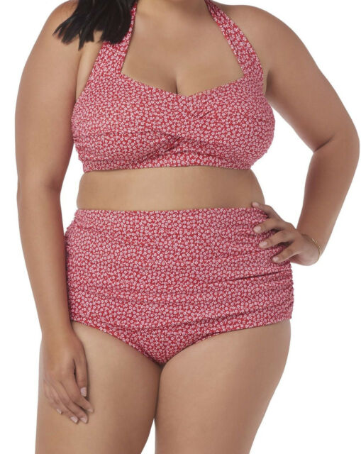 8d73805fac NEW WOMENS PLUS SIZE 3X 22W 24W RED DAISY FLOWER TWO PIECE HIGH WAISTED  SWIMSUIT