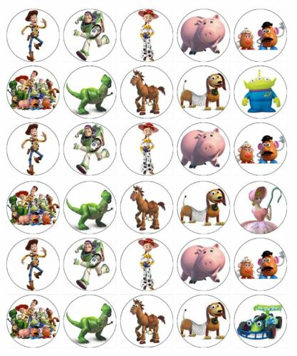 30 x Toy Story Cupcake Toppers Edible Wafer Paper Fairy Cake Toppers